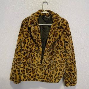 Small size leopard faux furry jacket